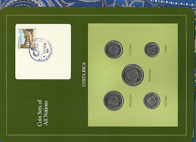 Coin Sets of All Nations Costa Rica UNC 1,2 Colones 1984 5,10,20 Colones 1985