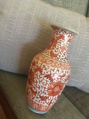 19TH CENTURY ANTIQUE CHINESE IRON RED PORCELAIN VASE Ching Peony