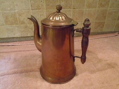Vintage Antique Brass & Copper Coffee Pot Stamped 6 on bottom ~ Wood Handle