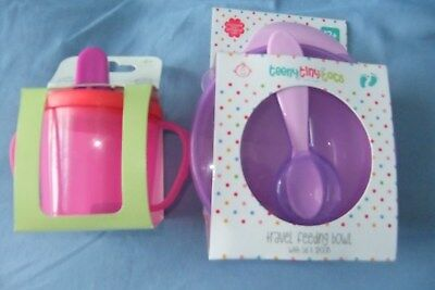 Baby Girl Weaning/Feeding Set 2 Handled Sippy Cup & Bowl with Lid & Spoon *BNIP*