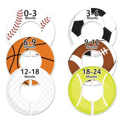 """6 baby closet dividers boys sports clothing rod organizers Fit 1.25"""" rod C47"""
