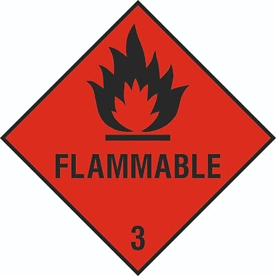 4x 150mm x 150mm Health and Safety Hazard Sticker Flamable Sticker Red