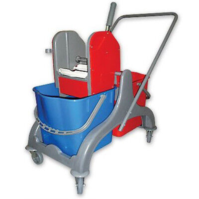 40L New Industrial Double Mop Bucket Trolley 2 Buckets - Strong Wringer