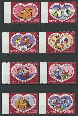 Nevis Disney Stamps Love Heart Couple Serie Set of 8 Stamps Mint NH