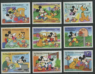 St. Vincent Disney Stamps Mickey Pluto Day Routine Serie Set of 9 Stamps Mint NH