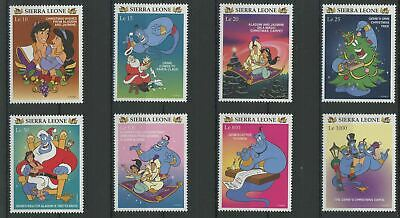 Sierra Leone Disney Stamps Aladdin Genie Christmas Serie Set of 8 Stamps Mint NH