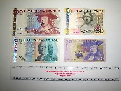 Lot of 4 Circulated Sweden Kronor