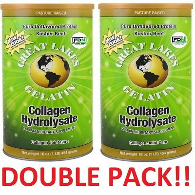 2x Great Lakes Gelatin Co Collagen Hydrolysate Collagen Joint Care Beef 454g NEW