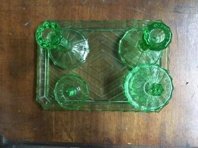 new concept a6e80 631a2 VINTAGE 4 PIECE green glass dressing table set candlesticks ...