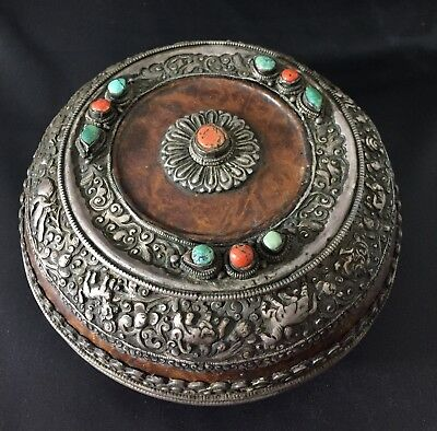 Antique Tibetan Buddhist Silver, Wood, Turquoise, Coral Offering Bowl W/Lid