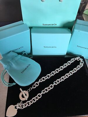 "Tiffany & Co Heart Tag Sterling Silver .925 Toggle Necklace 16"" With Box"