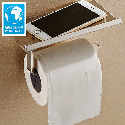 Stainless Steel Bathroom Paper Phone Holder with Shelf Bathroom Mobile Phones To