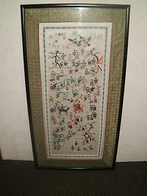 Large Vintage Chinese Silk Embroidery 100 Children Framed And Glazed.