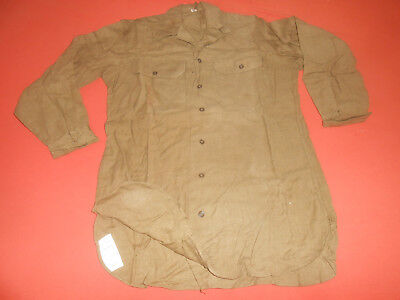 U.S.ARMY:1944 WWII  Shirts,Flannel O.D. Coat Style With Gas Flap ,Size 15 - 32