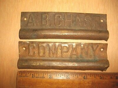 P200 Antique Brass A.B. CHASE Company Placks Tags Piano Advertising