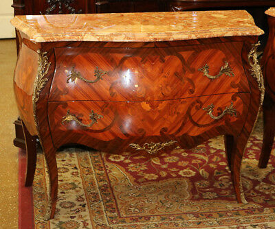 Rare Matched Pair Italian French Louis XV Marble Top Inlaid Commodes Dressers