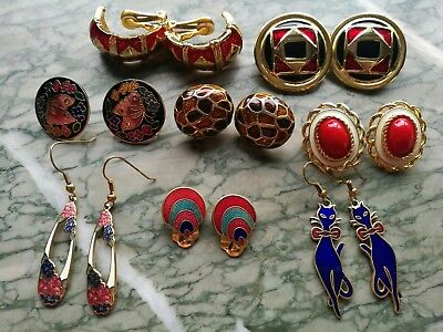 Job Lot Of Vintage Enamel Earrings