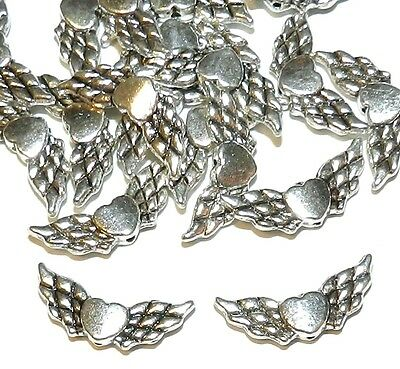 M742 Antiqued Silver 22mm Double-Sided Angel Wings with Heart Metal Beads 20pc