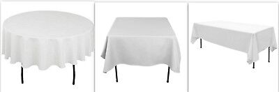 White Satin Tablecloth Table Cover Cloth Round Rectangular Square Wedding Decor