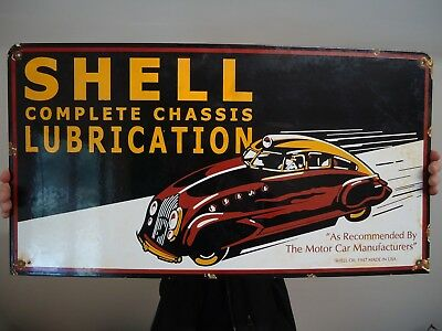 Rare Large Old 1947 Shell Lubrication Porcelain Gas & Oil Pump Sign Advertising