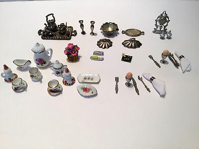 Lot Assorted Dollhouse Miniature Dishes Napkins Clock Butter Dish Silverware