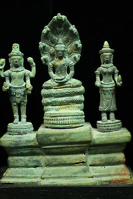 Rare Ancient Khmer Bronze Statue of Mahayana Trinity12th century Angkor Period