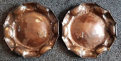 Copper Hand Hammered Arts & Crafts Plates (2) with Butterfly Impressed in base