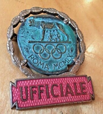 vintage 1960 ROME ROMA Olympics UFFICIALE Official Pin Participation Badge Coin