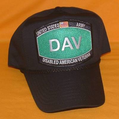 d1d5ac9c2c6 US Army DAV (Disabled) High Crown Emblematic Licensed Black Ball Cap Hat.