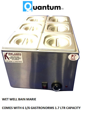 Wet well bain marie hot food sauce warmer with 1/6 gastronorms and lids