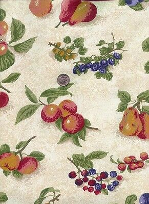 1 yard Longaberger Fruit Medley Fabric 36 x 54 pears peaches apples blueberries