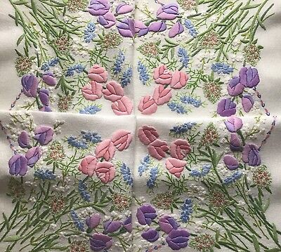 Stunning Vintage Hand Embroidered Tablecloth ~ Sweet Peas/love-In-A-Mist