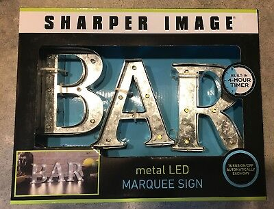 NEW The Sharper Image Bar Metal LED Marquee Sign 4 Hour Timer Man Cave