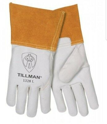 "TILLMAN 1328 L Top Grain Goatskin TIG Welding Gloves  Large 4"" Cuff Safety"