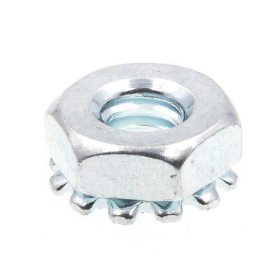K-Lock Nuts With External Tooth Washer, #10-24, Zinc Plated., 50 pack