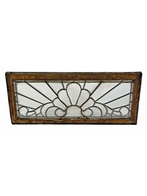 1880's All-Beveled Leaded Glass Transom Window Featuring A Palmette