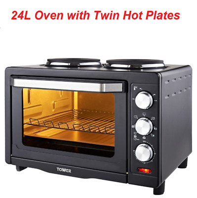 2 In 1 Tower 24L Oven With Twin Hot Plates Ideal For Roasting,Baking,Grilling