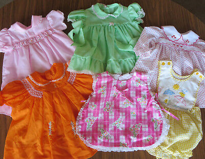 Vintage Baby Girl Dress Lot of 6 Various sizes 0-18 mos.