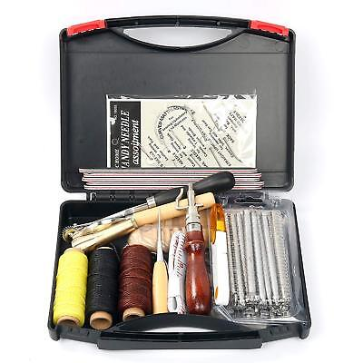 59Pcs Leather Craft Hand Tool f Hand Sewing Stitching Carving Stamping Punch Set