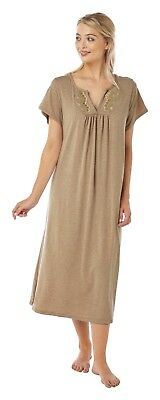 3ad737d4f1 Ladies Plus Size Soft Stretchy Jersey Nightdress  Nighty Size 14-32 Taupe
