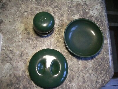 Vtg. Russell Wright Iroquois Green Lid, Bowl, & S/P Shakers