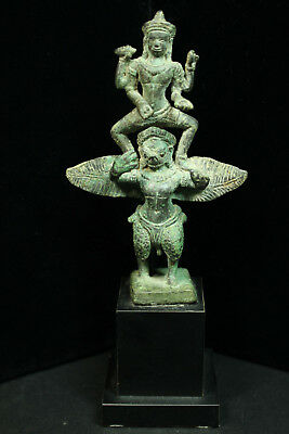 Rare Ancient Khmer Bronze Statue of Vishnu upon Garuda 12th cent. Bayon Style