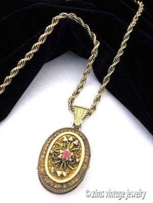Antique VICTORIAN tourmaline crystal Gold plated brass Ornate LOCKET Necklace