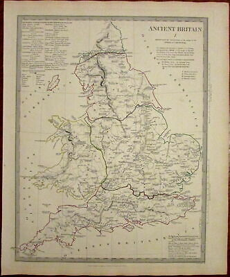 Ancient Britain showing provincial nations England 1834 SDUK detailed Walker map
