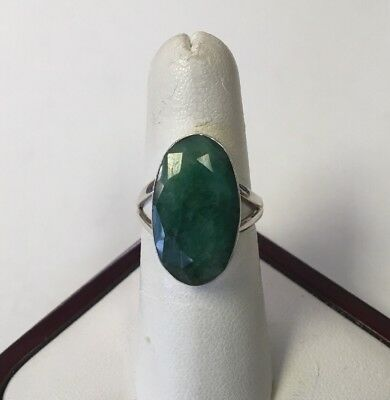 Sterling Silver Faceted Dyed Beryl Emerald Ring Size 8