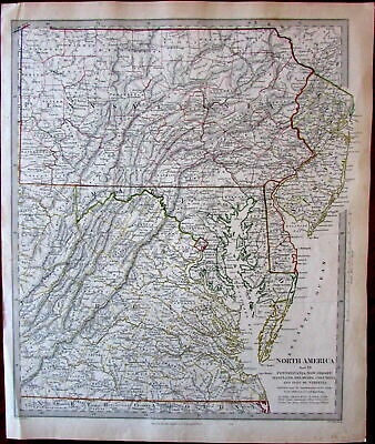 United States PA NJ MD DE DC VA c.1830s-40s SDUK detailed Walker map