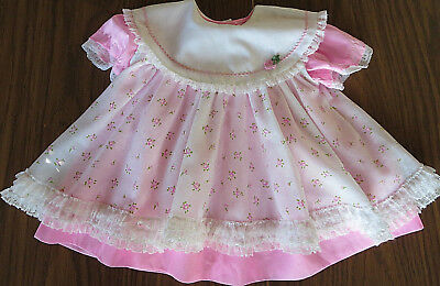 Vintage Mini World 2 pc. Pink Floral Pinafore Baby Dress 6-9 mos.
