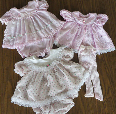 Vintage Pale Pink Lacy Baby Girl Dress Lot 0-3 mos.
