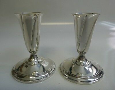 Vintage El Sil Co. Weighted Sterling Silver Pair Of Candle Holders