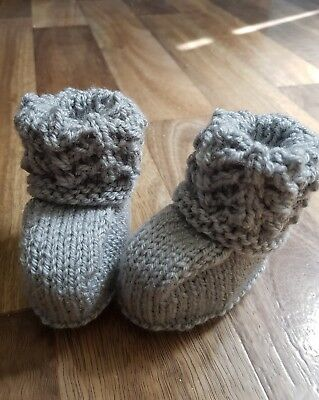 Hand knitted baby booties  grey 0-6 months